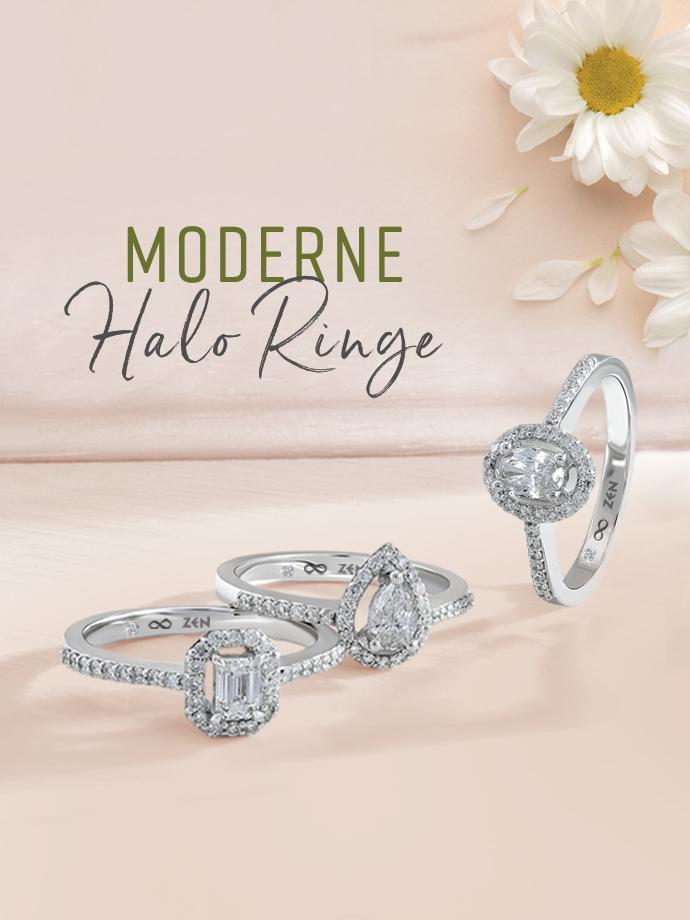 Moderne Halo Diamantringe