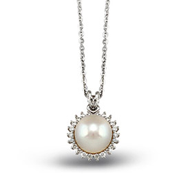 Perle Diamant Halskette